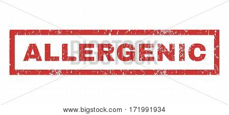 Allergenic text rubber seal stamp watermark. Caption inside rectangular shape with grunge design and dust texture. Horizontal vector red ink sign on a white background.