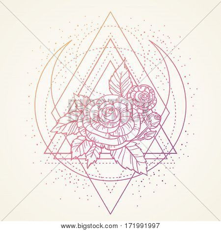 Rose Flower With Sacred Geometry Frame. Tattoo, Mystic Symbol. Boho Print, Poster. Textiles. Dreamy