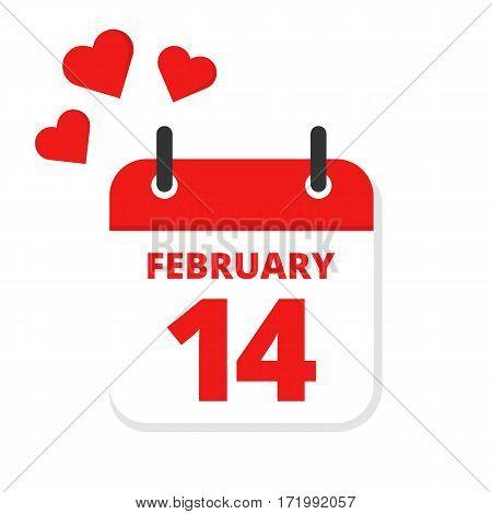Flat icon calendar Valentine's day.14th February. Love. Vector illustration.