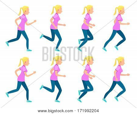 Set of icons with running girl. Sport. Run. Active fitness. Exercise and athlete. Variety of sport movements. Different position of arms and legs during run. Simple cartoon style. Flat design. Vector