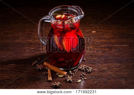 Mulled Wine In Glasses On Wooden Table