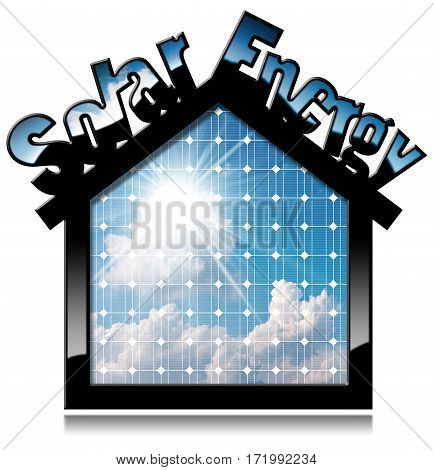 3D illustration of a black solar house with text Solar Energy and a solar panel inside with blue sky clouds and sun rays. Isolated on white