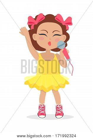 Singing girl with brown wavy hair and two bows on head. Little singer. Nice female person sing with closed eyes. Simple cartoon style. Young singer avatar user pic. Flat design. Vector illustration