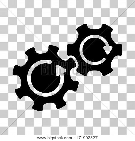 Gears Rotation vector pictograph. Illustration style is a flat iconic black symbol on a transparent background.