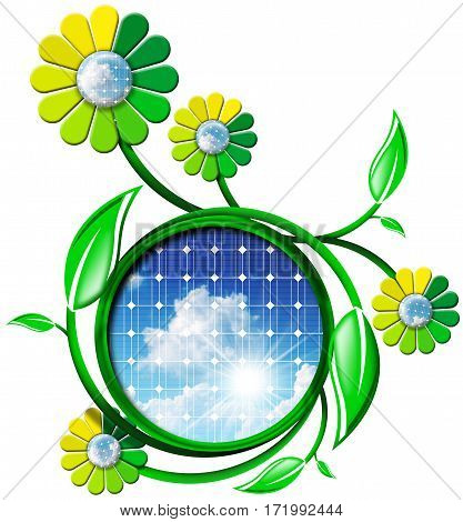 3D Illustration of a symbol for solar energy with solar panels sun rays and green and yellow flowers with petals. Isolated on white