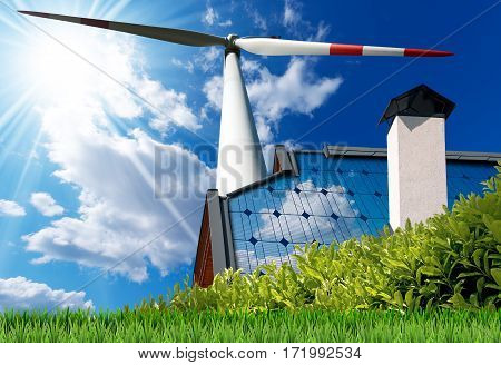 Wind and Solar Energy Concept - House roof with a solar panel and a wind turbine on a blue sky with clouds and sun rays
