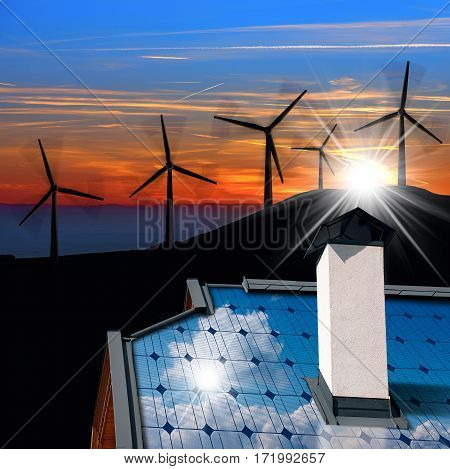 Wind and Solar Energy Concept - Closeup of a house roof with a solar panel and an illustration of a group of wind turbines at sunset with sun rays