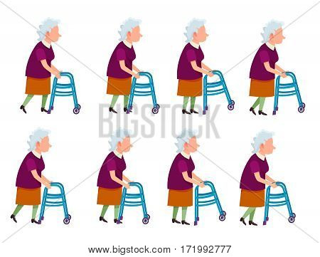 Collection of icons with old woman. Retired female with rolling walker. Pictures with different movements. Violet vest, light skirt. Cartoon style. Elderly man in motion. For cartoon animation. Vector