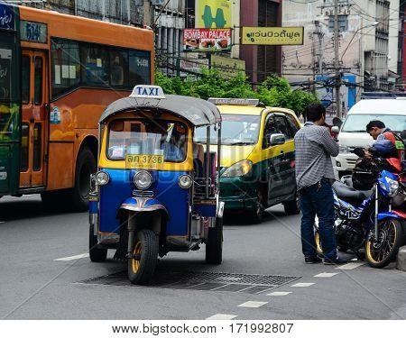 Tuk Tuk (taxi) On Street In Bangkok, Thailand