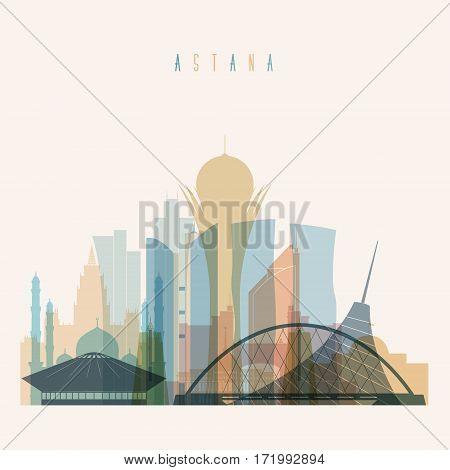 Transparent style Astana skyline detailed silhouette. Trendy vector illustration.