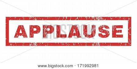 Applause text rubber seal stamp watermark. Tag inside rectangular banner with grunge design and dust texture. Horizontal vector red ink sticker on a white background.