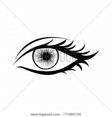 monochrome silhouette with female eye vector illustration
