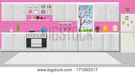 Kitchen with furniture. Cozy kitchen interior with table stove cupboard dishes and fridge. Flat style vector illustration.