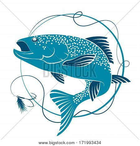 Salmon fishing and bait vector symbol sport