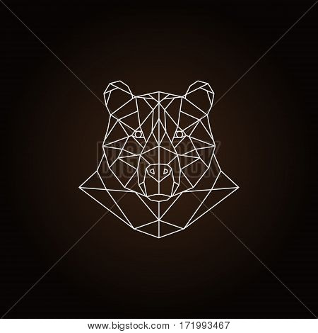 Polygonal bear head white line on dark brown background. Icon template.