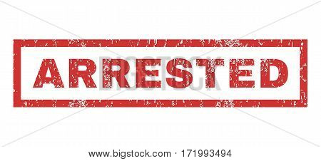 Arrested text rubber seal stamp watermark. Tag inside rectangular shape with grunge design and scratched texture. Horizontal vector red ink sign on a white background.