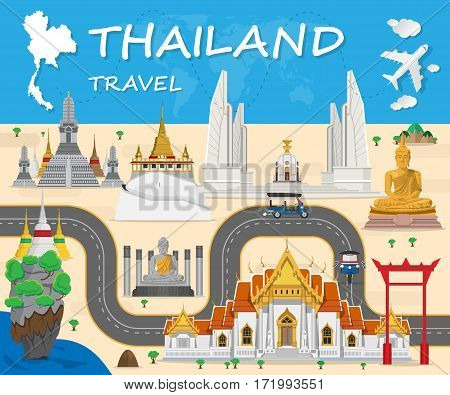 Thailand Landmark Global Travel And Journey Infographic Background. Vector Design Template.used For