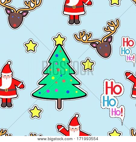 Santa Claus, deer, tree decorated with ball and star seamless pattern. Christmas elements in simple cartoon style. New Year. Wallpaper design endless texture. Fabric textile. Vector illustration