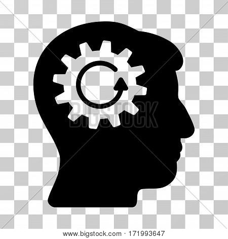 Head Gear Rotation vector pictograph. Illustration style is a flat iconic black symbol on a transparent background.