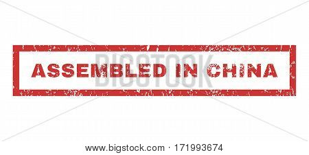 Assembled In China text rubber seal stamp watermark. Tag inside rectangular banner with grunge design and scratched texture. Horizontal vector red ink sign on a white background.