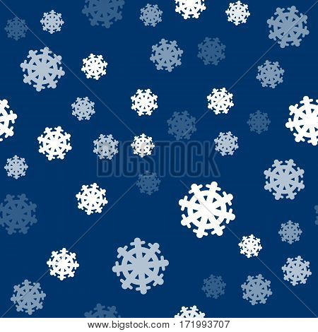 Seamless pattern snowflakes on dark blue background. Endless texture in New Year, Christmas concept. Winter Xmas theme. Realistic pattern with snowflakes, snow. Fabric textile, print material. Vector
