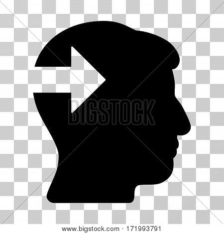 Head Plug-In Arrow vector pictogram. Illustration style is a flat iconic black symbol on a transparent background.