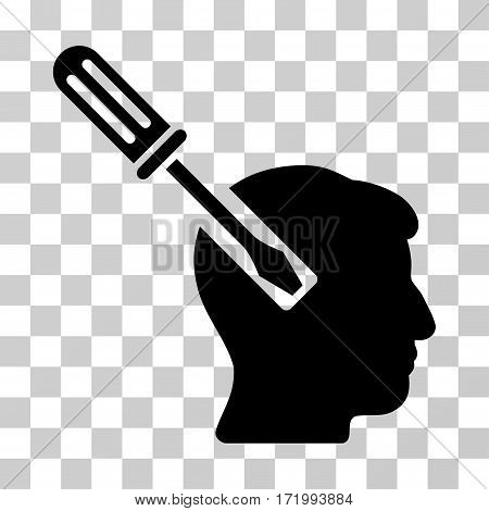 Head Screwdriver Tuning vector pictograph. Illustration style is a flat iconic black symbol on a transparent background.