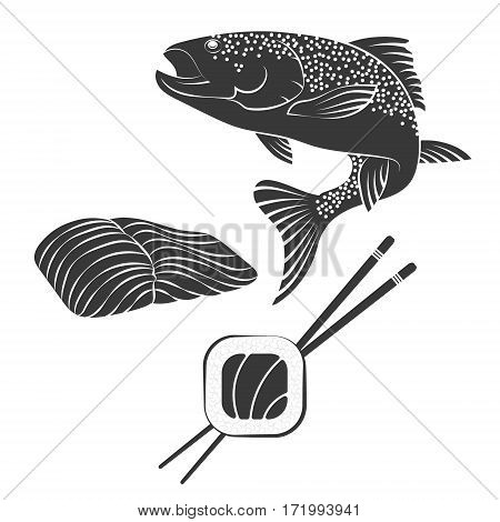 Salmon and salmon fillet for sushi vector
