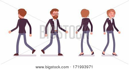 Set of young male and female managers in formal wear, walking poses, active lifestyle, full length, front and rear view, isolated against white background