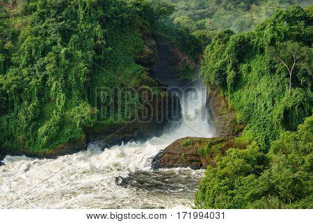 Detailed view of Murchison Falls water canyon in Nilo River, Uganda, bottom view
