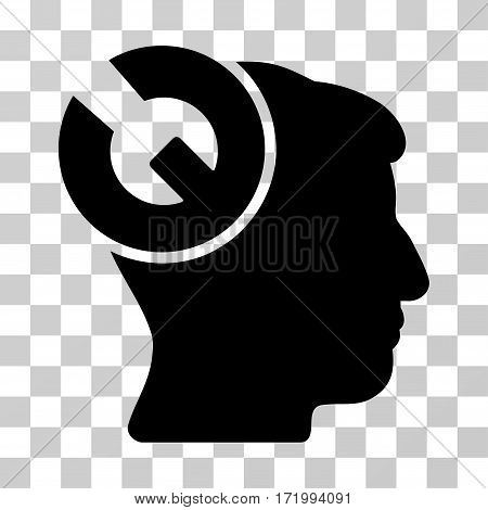 Head Surgery Wrench vector pictogram. Illustration style is a flat iconic black symbol on a transparent background.