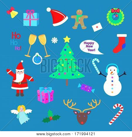 Set of Happy New Year and Merry Christmas elments. Xmas tree, snowman, present, Santa Claus, deer, candy stick, speech bubble, gift, angel. Cartoon style. Comic illustration in 80s 90s style. Vector.