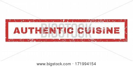 Authentic Cuisine text rubber seal stamp watermark. Tag inside rectangular shape with grunge design and dirty texture. Horizontal vector red ink emblem on a white background.