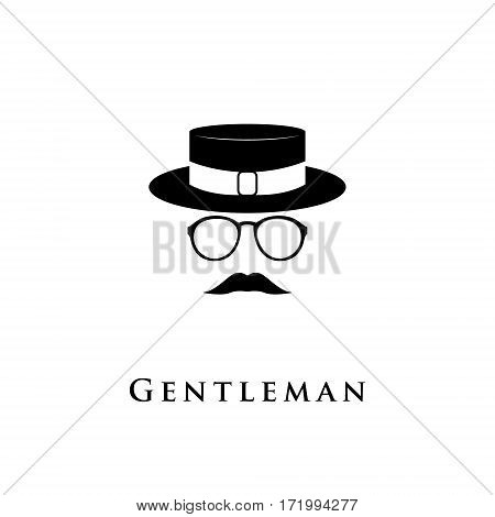 Creative logo gentleman with a mustache hat and glasses. Vector illustration.