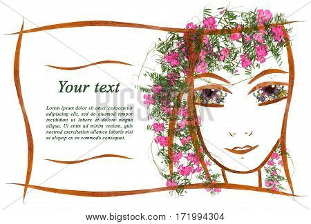 invitation with a picture of the girl's face contour applique made of dry geranium flowers and leaves with place for text