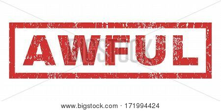 Awful text rubber seal stamp watermark. Caption inside rectangular shape with grunge design and scratched texture. Horizontal vector red ink sign on a white background.
