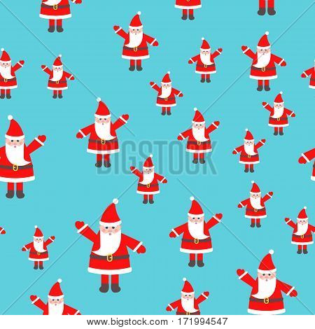 Santa Claus toy with raised hand seamless pattern. Man in red xmas hat and with white beard. Brown belt on waist. Simple cartoon style. Flat design. Wallpaper design endless texture. Vector