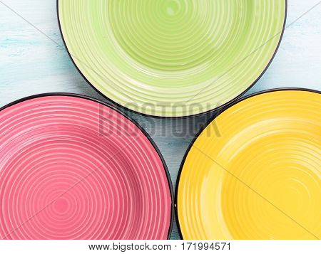 Pastel Color ceramic plate dish top view background