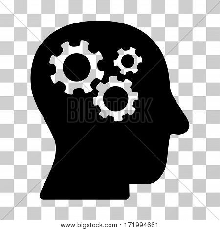 Intellect Gears vector icon. Illustration style is a flat iconic black symbol on a transparent background.