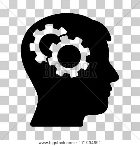 Intellect Gears vector pictograph. Illustration style is a flat iconic black symbol on a transparent background.