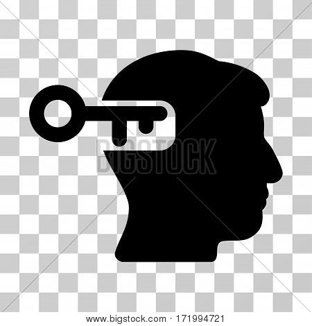 Intellect Key vector icon. Illustration style is a flat iconic black symbol on a transparent background.