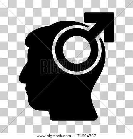 Intellect Potency vector pictograph. Illustration style is a flat iconic black symbol on a transparent background.