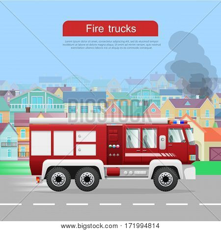 Fire trucks banner. Modern fire engine rides on fire, town buildings, smoke flat vector illustrations. Fire apparatus, fire appliance concept. For firefighting company, fire department web page design