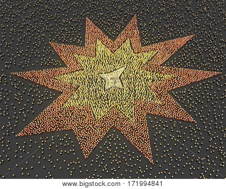 Crowd of small symbolic figures in star shaped explosion colors 3d illustration horizontal