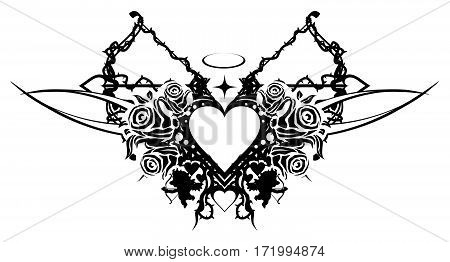 Heart valentine stencil black, vector illustration, horizontal, isolated