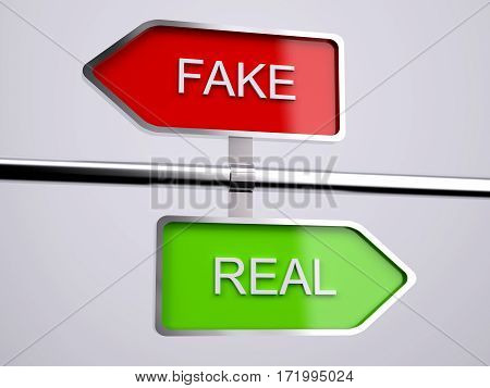 Fake VS Real Signs , 3d illustration