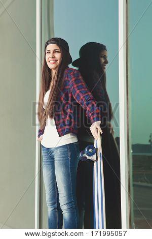 Female With Skate Near Mirror