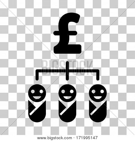Kid Pound Budget vector pictogram. Illustration style is a flat iconic black symbol on a transparent background.