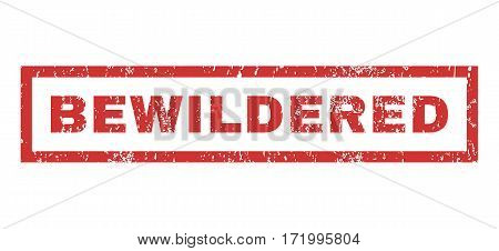 Bewildered text rubber seal stamp watermark. Caption inside rectangular shape with grunge design and dust texture. Horizontal vector red ink emblem on a white background.