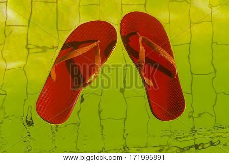 red flip-flops floating in a pool of yellow water top view.